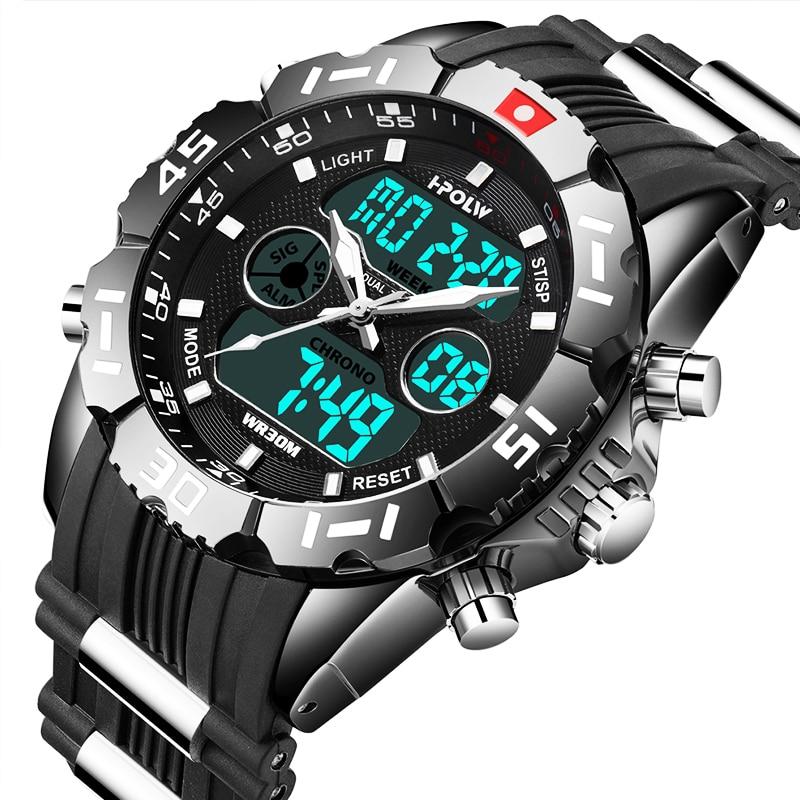 HPOLW Brand Men Sports Watches Fashion Chronos Rubber Mens Waterproof LED Digital Watch Man Military Clock Relogio Masculino