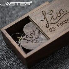 Jaster Houten Hart Usb + Gift Box Usb 2.0 Flash Drive Pendrive 4Gb 8Gb 16Gb 32Gb 64Gb (Gratis Custom Logo) fotografie Bruiloft