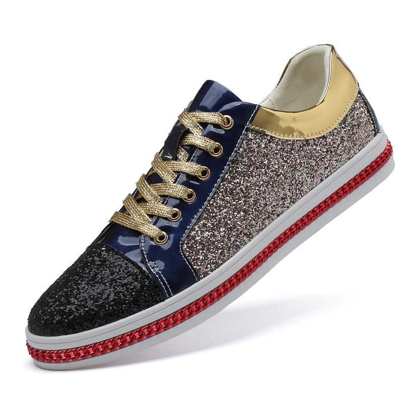 Genuine Leather Men Casual Shoes 2020 Glitter Sneakers Woman Flat Shoes Male Golden Sequined Unisex Footwear Top Quality Soft