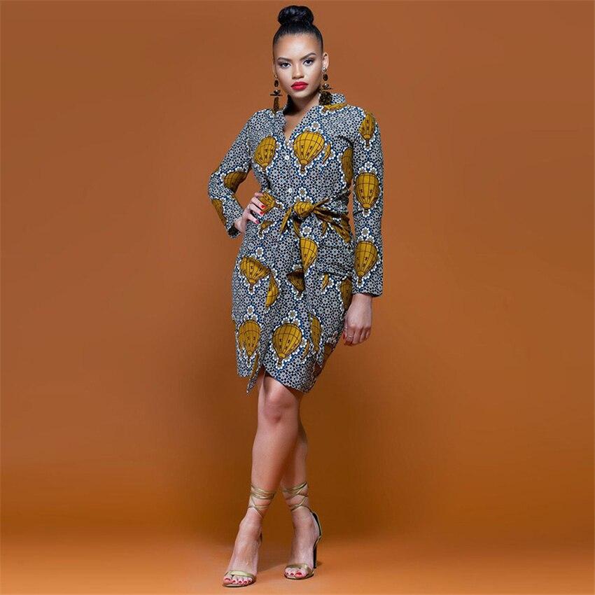 Ethnic Print African Traditional Dress Woman Irregular Dashiki Long Sleeve Bazin Riche Elegant Party Africa Clothing With Belt