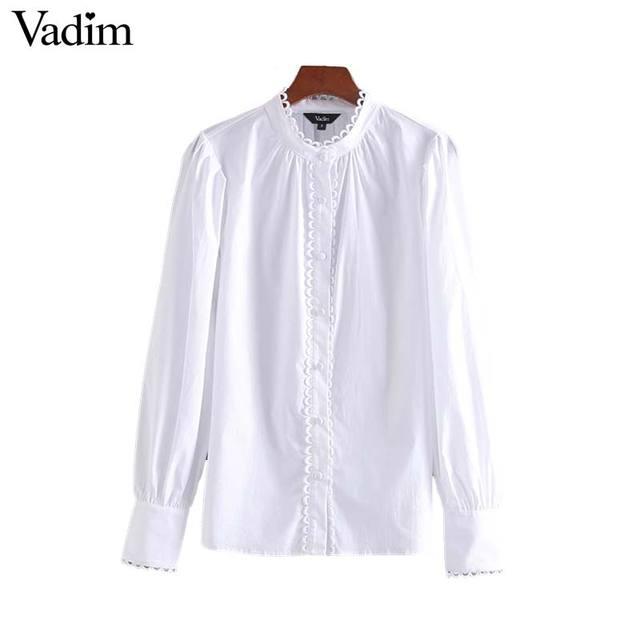 Vadim النساء الحلو تكدرت الأبيض بلوزة طويلة الأكمام يا الرقبة قميص الإناث أنيقة مكتب ارتداء شيك قمم blusas موهير LB491
