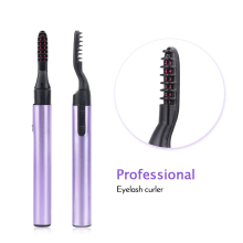 Drop Ship Portable Pink Purple Electric Perm Heated Eyelash Curler Pen Style Long Eye Lash Curler Makeup Curling Kit for Women recommend women beauty eyelash curling perming curler perm kit false eyelash maquiagem wave lotion eye rod glue sets