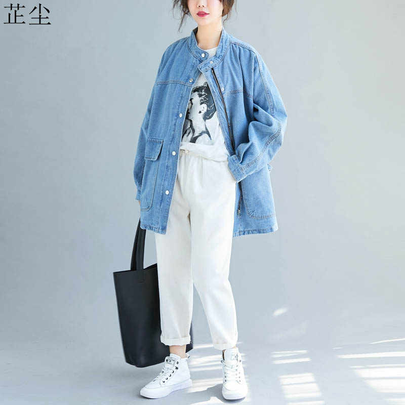 Plus Size Coat Denim Jacket Women 2019 Autumn Winter Fashion Long Sleeve Vintage Jean Jackets Coats Casaco Feminino 4XL 5XL 6XL