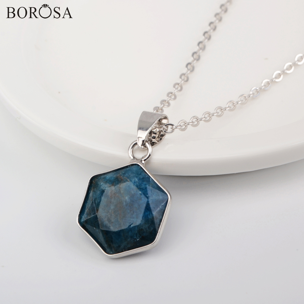 1Pcs Silver Plated Faceted Apatite Stone Beads Pendant Necklace Hexagon Fashion Natural Gems Stones Necklace Jewelry Women Gifts