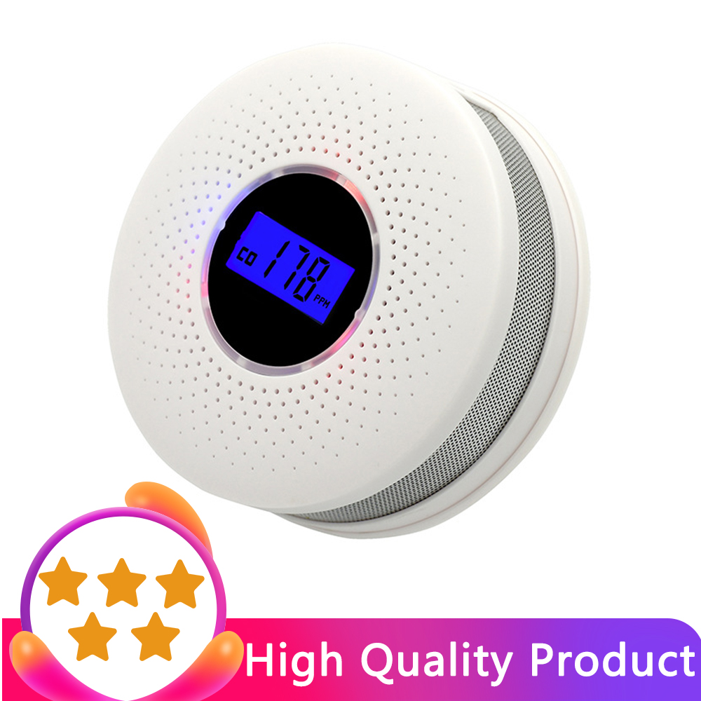 Smoke Detector & Carbon Monoxide Sensors 2 In 1 LCD Display Battery Operated CO Alarm With LED Light Flashing Sound Warning