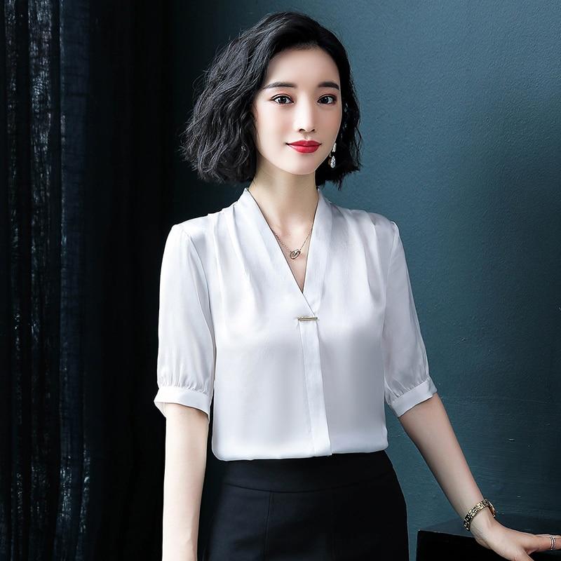 Купить корейские модные шелковые женские блузки атласные офисные рубашки