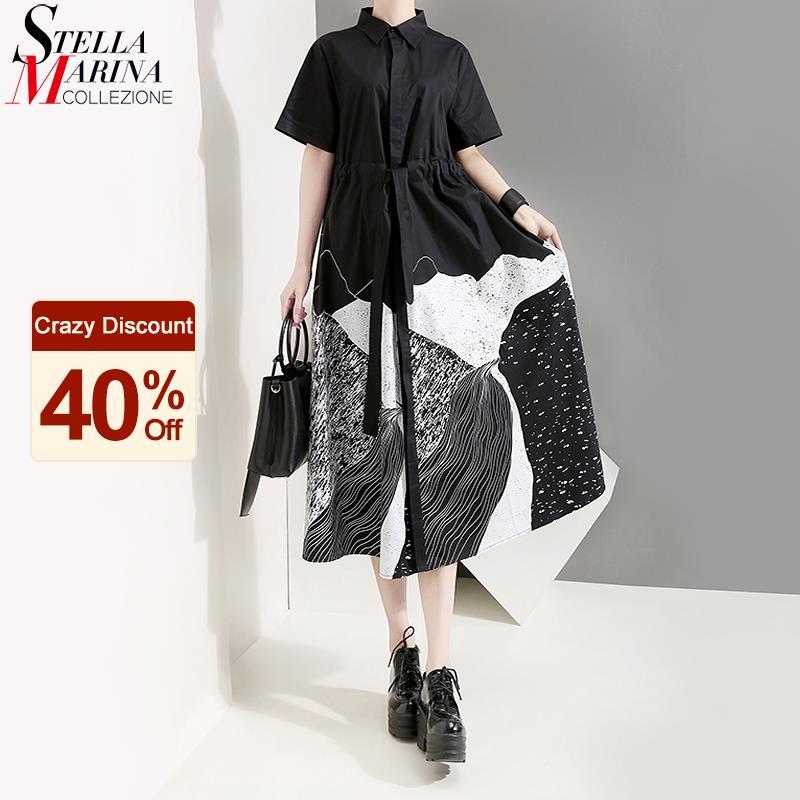 New Korean Style Women Summer Black Painting Long Shirt Dress Sash Printed Plus Size Midi Ladies Casual Vintage Dress Robe 5128