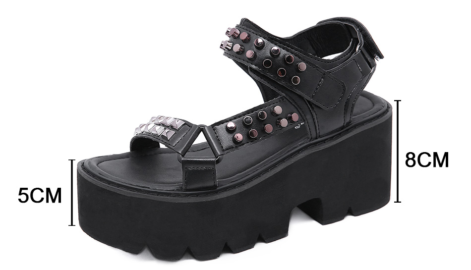 Black Punk Gothic Thick Bottom Comfort Shoes