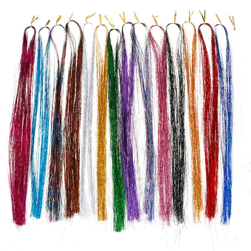 120 ipliklerini/set moda parti saç uzatma Glitter gökkuşağı ışıltı saç Tinsel Bling saç Secoration sentetik kızlar için
