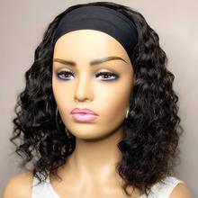 Onda profunda onda encaracolado perucas para preto perucas de cabelo humano brasileiro solto perucas de onda de água profunda máquina feita perucas bandana