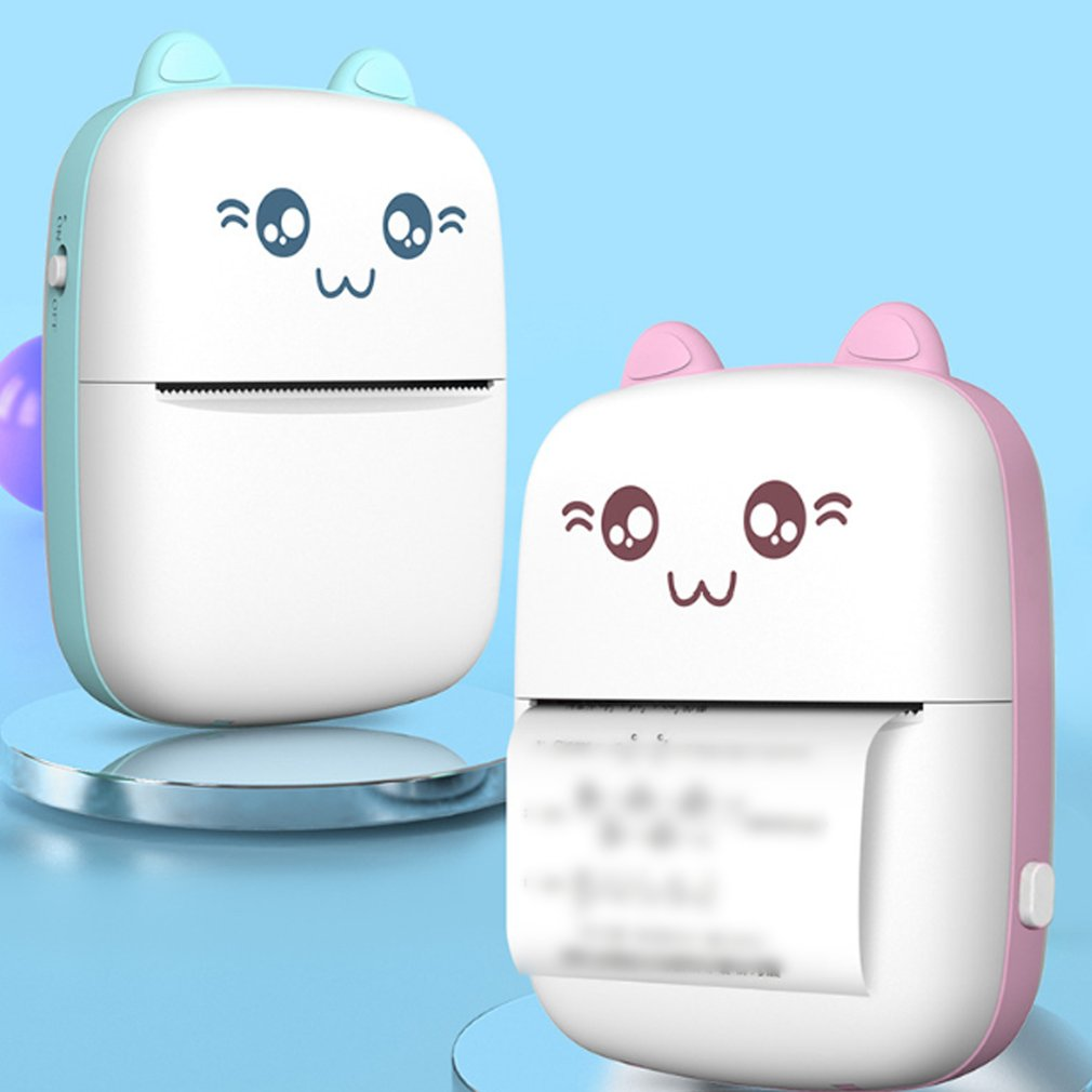Handheld Mini Thermal Printer Mobile Phone Wireless Photo Memo Wrong Question Printer With 1 Roll Printing Paper