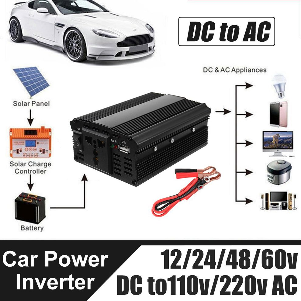 3000W High Power 12V To 220V Power Inverter With USB Port High Conversion Aluminum Alloy Housing Transformer