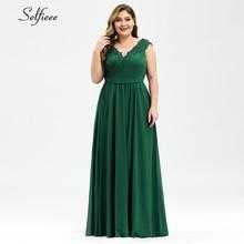 女性の夏のドレスプラスサイズのエレガントなaラインvネックオフショルダーロングシフォンアップリケレースパーティードレス 2020 vestidosローブフェムセクシー