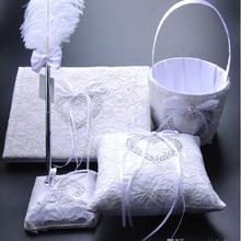 Элегантный в форме сердца алмаз белый лук книга носителя кольцо Подушка и перо ручка Набор Цветочная корзинка для девочки Свадебные Поставщики