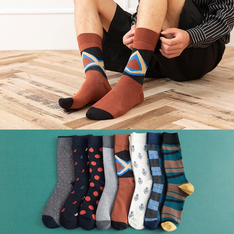 PEONFLY New Happy Mens Socks Women Lattice Moustache Stripe Novelty Sock Combed Cotton Funny Socks Men's Big Size Crew Socks