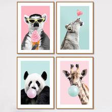 Giraffe panda ballon cartaz e impressões bonito dos desenhos animados animais imagem para sala de criança berçário lona pintura material impermeável