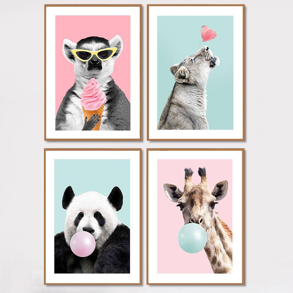 Жираф, панда с пузырьками, плакат и принты, милая картина для детской комнаты, детская живопись на холсте, водонепроницаемый материал, нерам...
