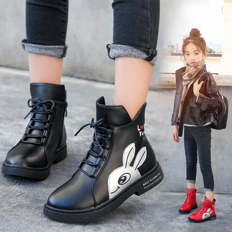 Image 4 - Winter Girls Boots 2019 New Spring British Fashion Girls Shoes Kids Cute Cartoon Leather Warm Plush Boots Litter Big Child BootBoots   -