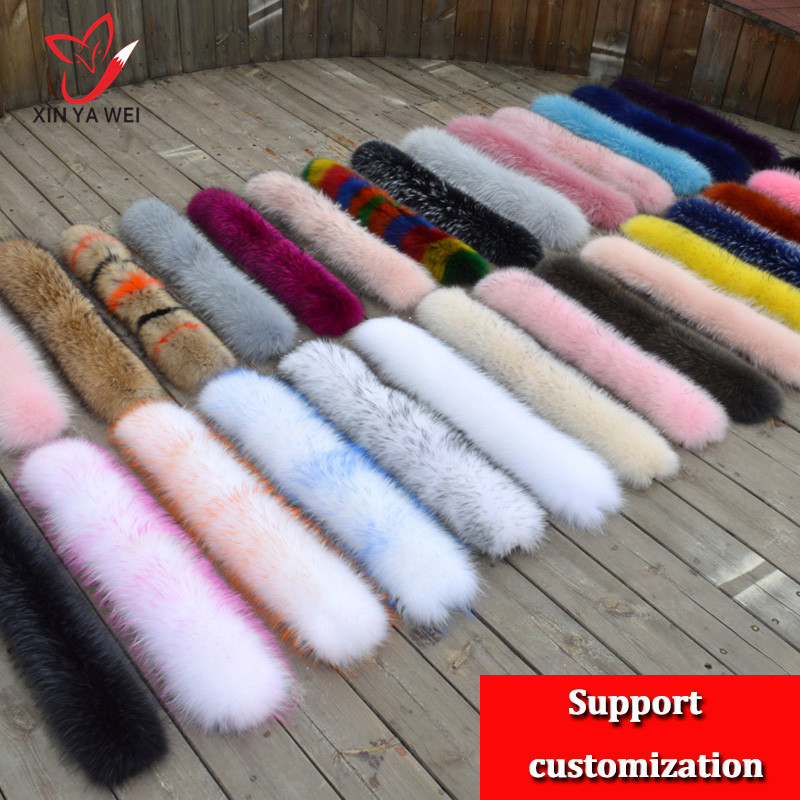 100% Winter Natural Fur Jacket, Natural Raccoon Fur Collar, Women's Scarves, Coats, Women Hat, Long Warm Real Fur Scarf