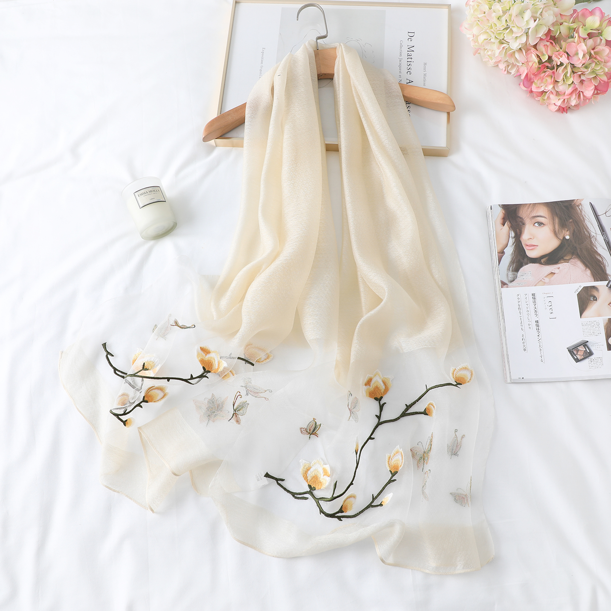 Women Silk Scarf Soft Solid Female Embroidery Cape High Quality Shawl Ladies Beach Wrap Femme Pashmina Fashion Scarf 2019