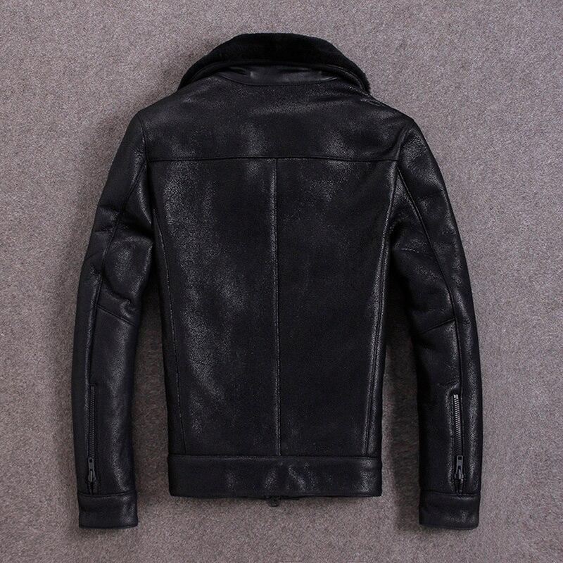 Genuine Sheepskin Leather Jacket Men Autumn Winter Real Wool Fur Coat Bomber Shearling Leather Jackets M-S-N-7 KJ1315