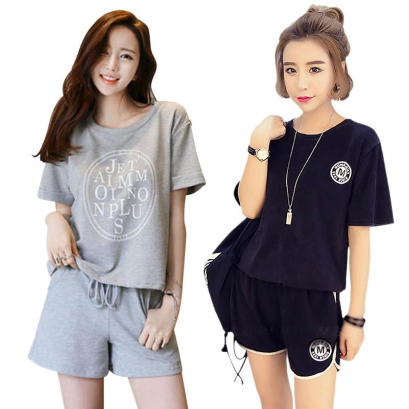 Summer Women Pajamas Set 2pcs Loose Sports Short Sleeve Homewear Sleepwear Female Leisure Home Wear