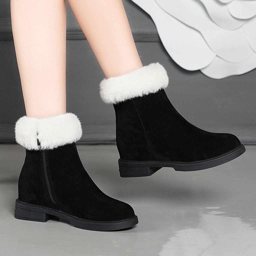 Süet peluş astarı kar botları kadın seksi bayanlar moda rahat yuvarlak ayak kısa yarım çizmeler akın sıcak tutmak fermuar düşük topuk ayakkabı