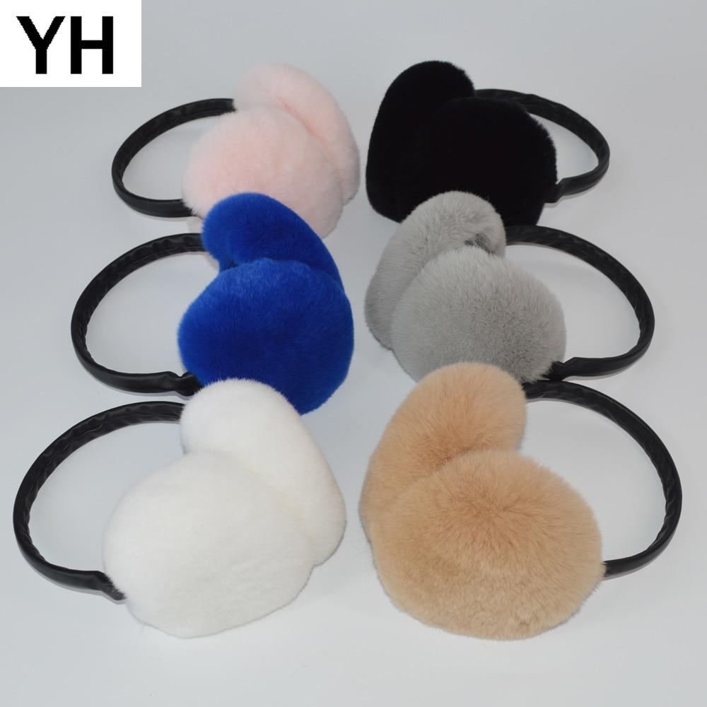 Women Winter Outdoor Warm Soft Rex Rabbit Fur Earmuffs Real Rex Rabbit Fur Earmuff Lovely Girl Genuine Rex Rabbit Fur Ear-cap