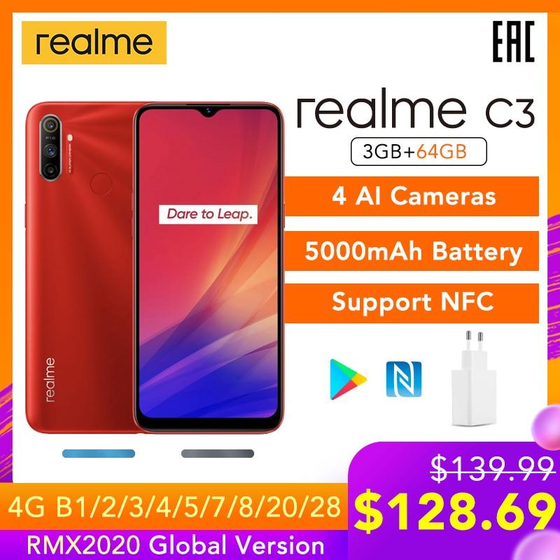 Realme c3 versão global apoio nfc 3gb ram 64gb rom 5000mah bateria helio g70 ai processador 12mp + 2mp + 2mp ai 3 câmeras traseiras hd +