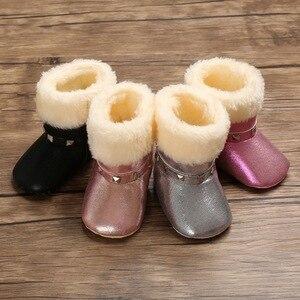 Осенне-зимние теплые ботинки из искусственной кожи для маленьких девочек; Плюшевые Нескользящие зимние ботинки для малышей; Обувь для перв...