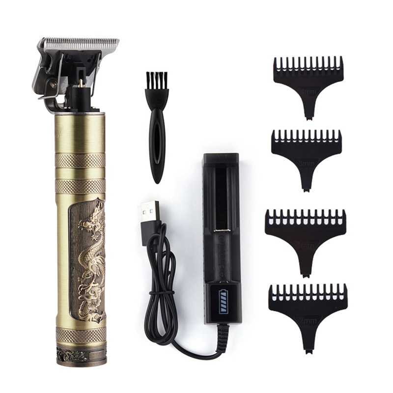 Professional Barber Hair Clipper Rechargeable Electric T-Outliner Finish Cutting Machine Beard Trimmer Shaver Cordless Corded 6