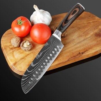XITUO Kitchen Knife Set 7CR17 High Carbon Steel Chef Knife Japanese Knife Meat Cleaver Slicing Santoku Utility Cooking Knife Set 4