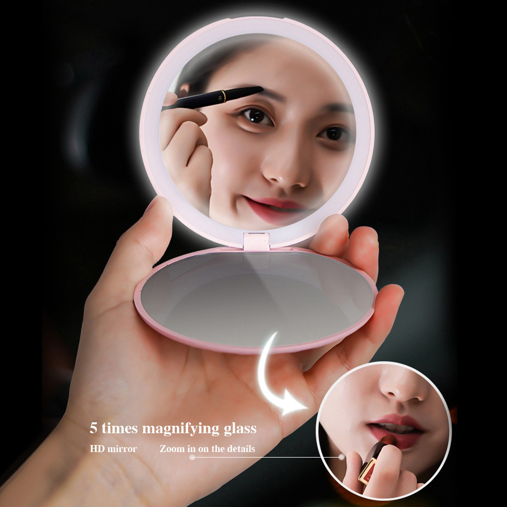 Double-Sided Lighted Makeup Mirror Portable LED Lighted Mini Circular Compact Travel 5x Magnification LED Handheld Oct