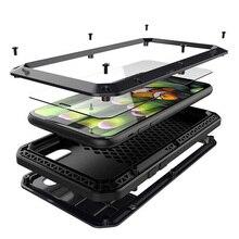 Doom zırh Metal alüminyum telefon kılıfı için iPhone 11 12 Pro XS MAX XR X 6 6S 7 8 artı 5 5S SE tam vücut kapak darbeye dayanıklı Fundas durumda