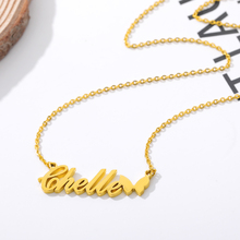 Custom Necklace Butterfly Pendant Stainless Steel Gold Chain Personalized Name Necklaces Choker Jewelry for Women BFF