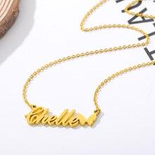 Изготовленный на заказ ожерелье Бабочка подвеска золотая цепь нержавеющей стали персонализированные имя ожерелья колье ювелирные изделия для женщин лучший друг