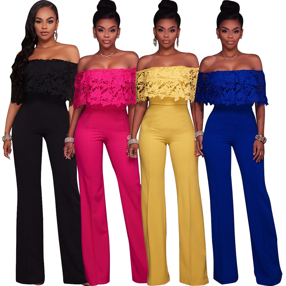 Fashion Personality Lace Ruffled Loose Jumpsuit Mid Waist One Shoulder Micro-horn Pants Solid S-XL Yellow Black Blue Rose Red