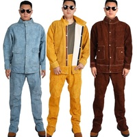 Rindsleder Elektrische Schweißen Arbeit Kleidung Set Spezielle Schutz Kleidung Anti Verbrühungen Leder Sicherheit Schweißen Anzüge Schweißer Uniformen