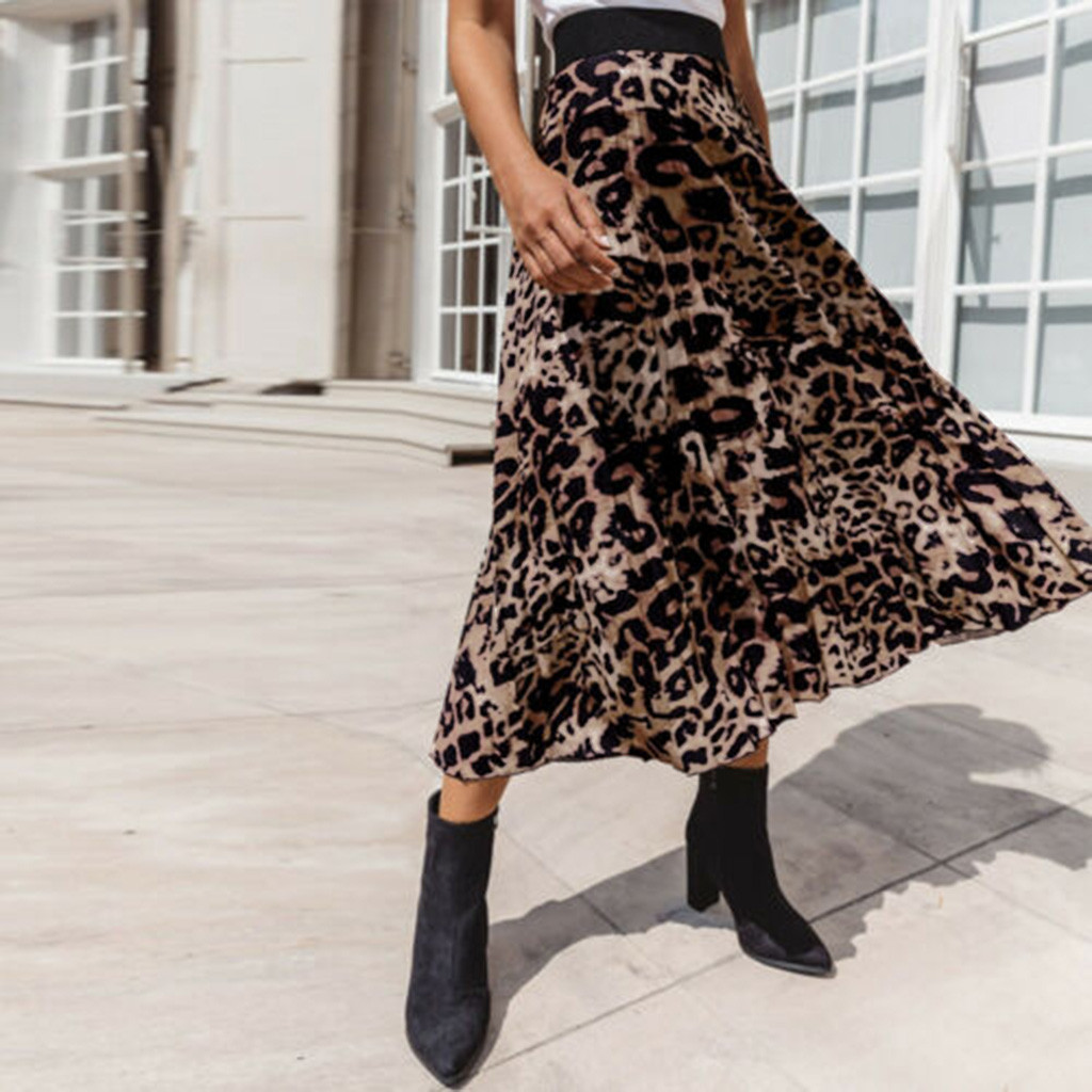 Spring Women Long Leopard Print Pleated Skirt Midi Skirt High Waist Elastic Casual Party Skirt Vintage faldas mujer moda 2020