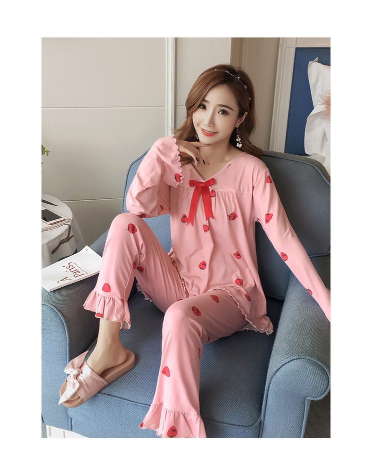 Autumn Women Cotton Pajamas Sets 2 Pcs Cartoon Printing Pijama Pyjamas Long Sleeve Bowknot Pyjama Sleepwear Sleep Set 55