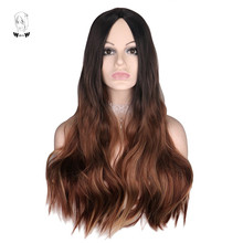 WHIMSICAL W Long Wavy Ombre Black Brown Color Wigs Natural Middle Part