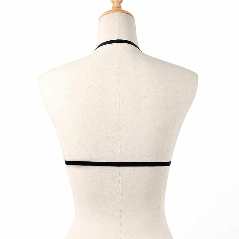 Seksowna z wiązaniami bielizna Hollow uprząż bielizna gorset elastyczny stanik bez miseczek drążą elastyczny pasek stanik z uprzężą dla kobiet
