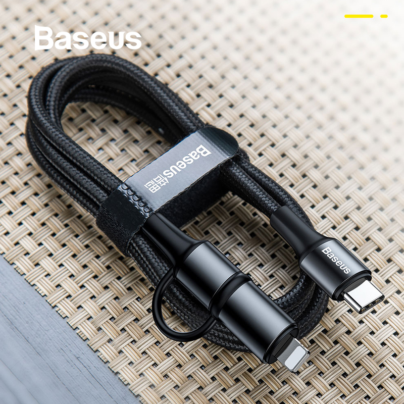 Baseus 60W USB Type C to USB C Cable 2 in 1 USB Cable for IP iPhone 11 Pro PD Fast Charging Quick Charge 3.0 USB C Cable-in Mobile Phone Cables from Cellphones & Telecommunications on AliExpress