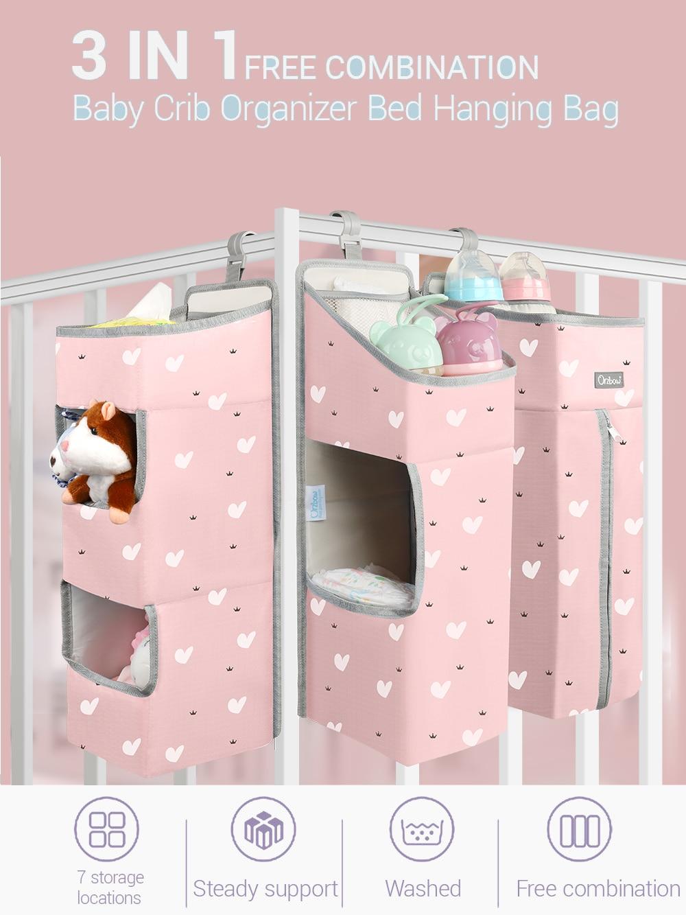 Orzbow Hanging-Bags Bed-Organizer Crib Diaper Infant Bedding Newborn Baby