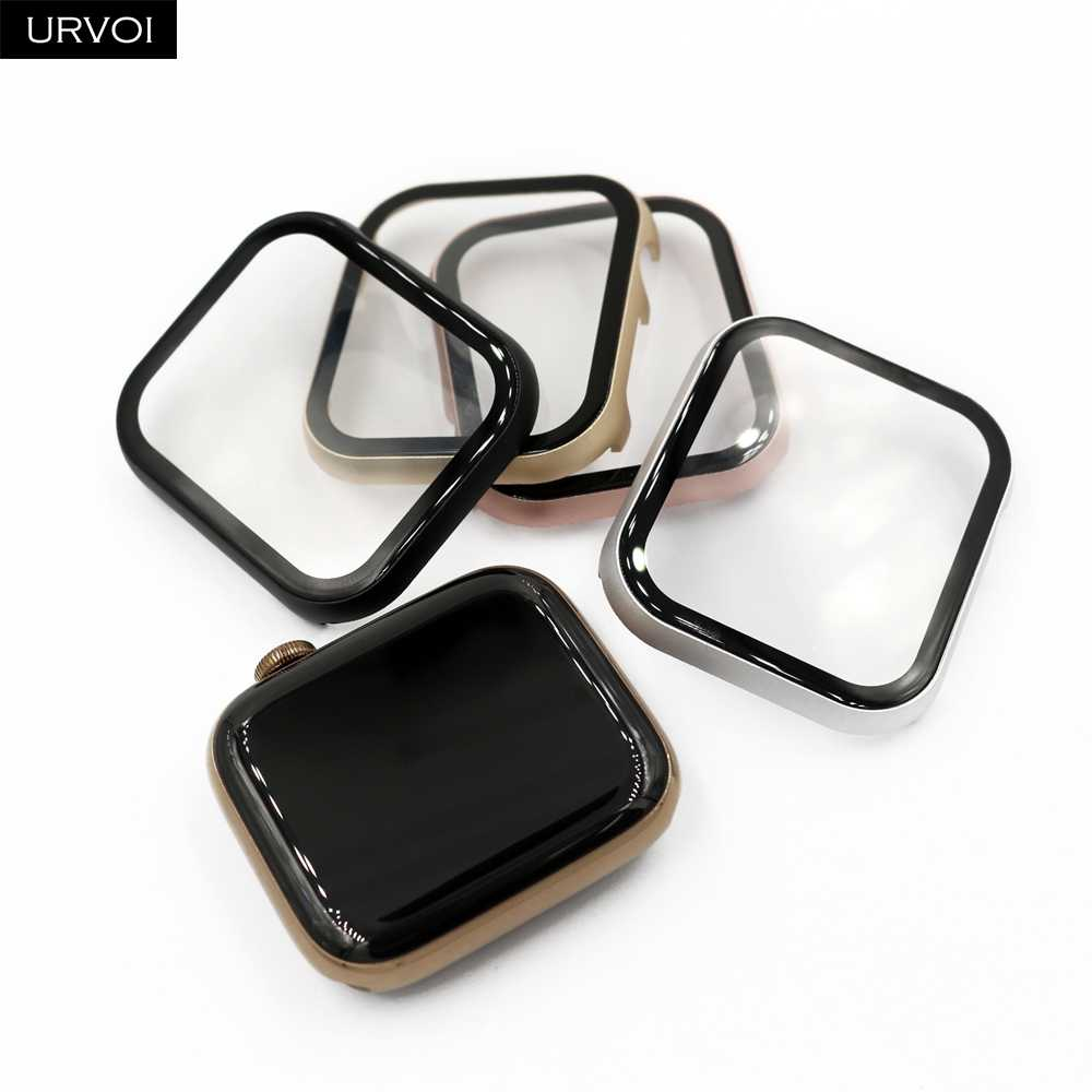 URVOI Full case for Apple Watch series 5 4 3 Metal bumper hard frame aluminium cover Tempered glass for iWatch screen protector