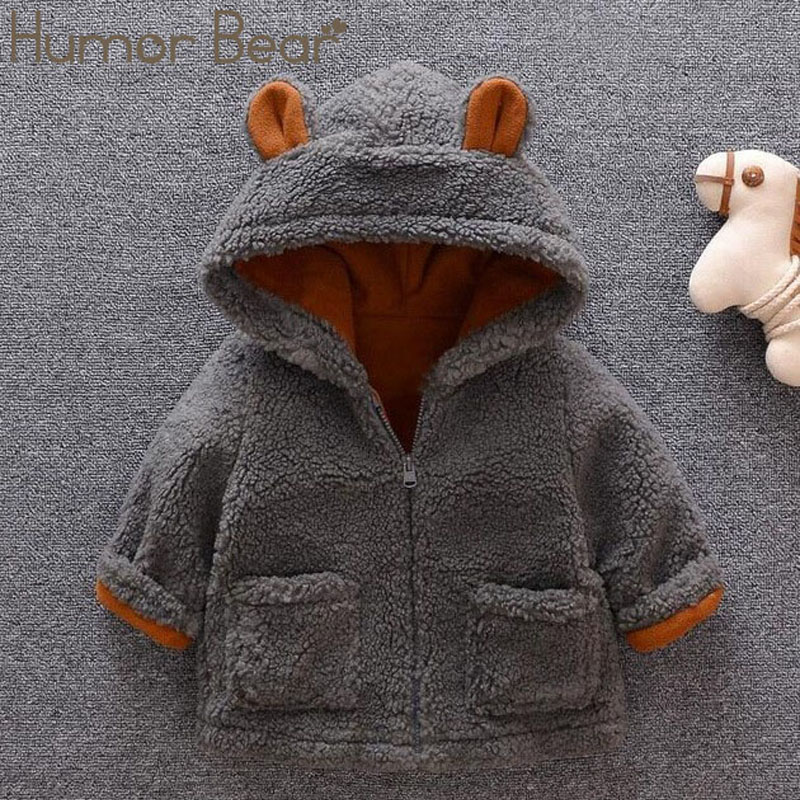 Humor Bear 2019 NEW Children Jacket Autumn Clothes Kids Fur Coat Boy Girl Baby Cute Cartoon Velvet Thick Coat Toddler Jacket image