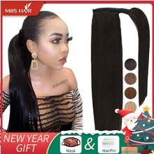 MRSHAIR klip w kucyk rozszerzenia maszyna Remy Wrap wokół kucyki prawdziwe ludzkie włosy rozszerzenia dla czarnych kobiet brazylijski włosy