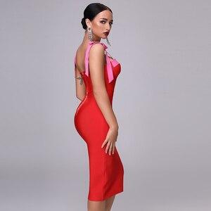 Image 2 - High Quality Sexy Red Party Bandage Christmas Dress 2020 New Autum WomenS Fashion Elegant Party Spaghetti Bow Bodycon Dress