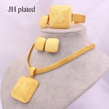 Dubai gold 24K Jewelry sets for women African bridal Wedding gifts party Necklace square earrings ring bracelet jewellery set anniyo good quality habesha ethiopian gold color necklace earrings ring hair chain jewelry sets african wedding gifts 047611
