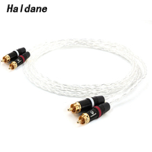 Haldane HIFI 7n Single Crystal Silver 2 RCA to 2 RCA  Audio Cable RCA Interconnect Cable with Gold plated RCA plug for Amplifier 3m nordost odin rca audio cable with carbon fiber rca audio hifi plug hifi rca cable